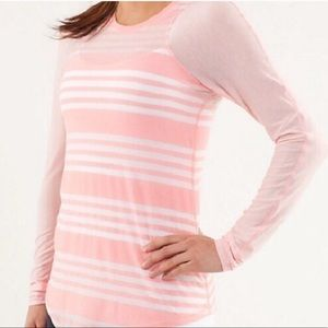 Lululemon Dighi Long Sleeve Tee Pink White